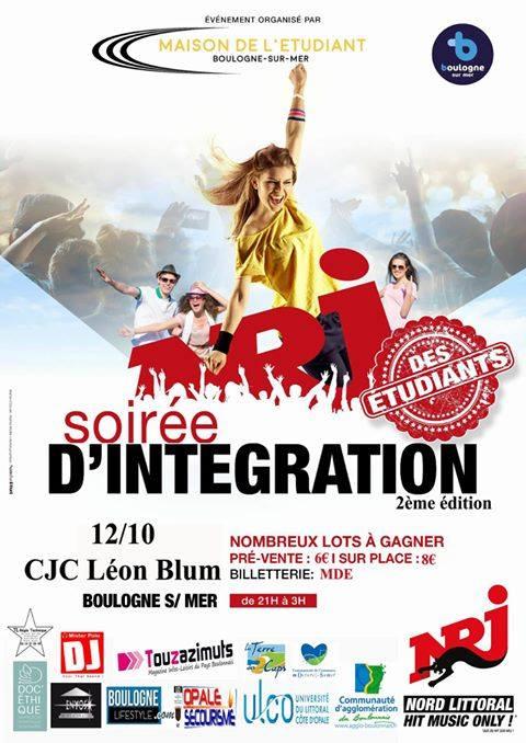 La soirée d'intégration des étudiants est de retour le jeudi 12 octobre 2017 à 21h au CJC Léon BLum à Boulogne sur mer!!! Un événement à ne pas rater pour tous les étudiants du Boulonnais! Les places sont en pré-vente à la MDE dès ce jeudi 28 septembre 2017 dès 9h! Pré-vente: 6€ / vente sur place : 8 € De nombreux lots à gagner!!! Venez nombreux!!!